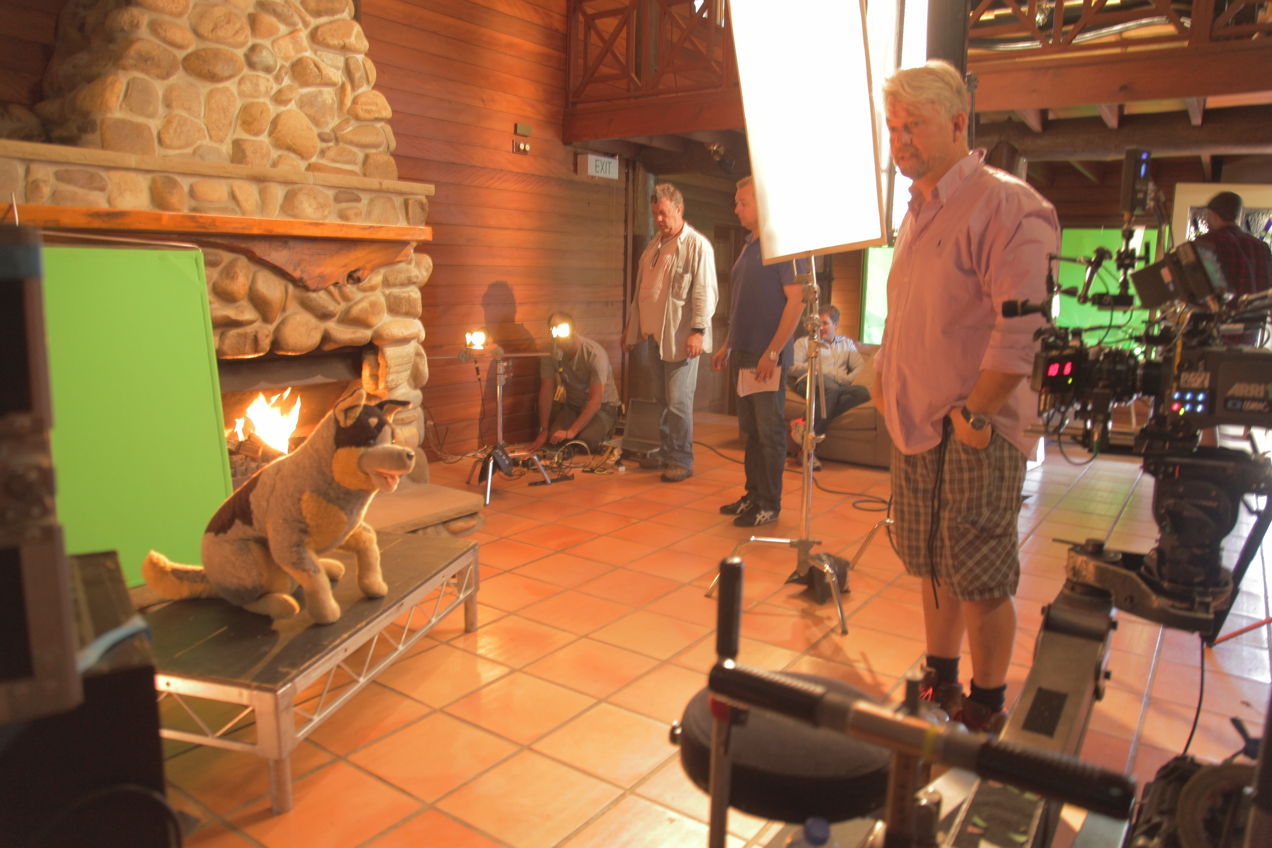 DOP Ben Nott and the furry stand-in for lighting tests.