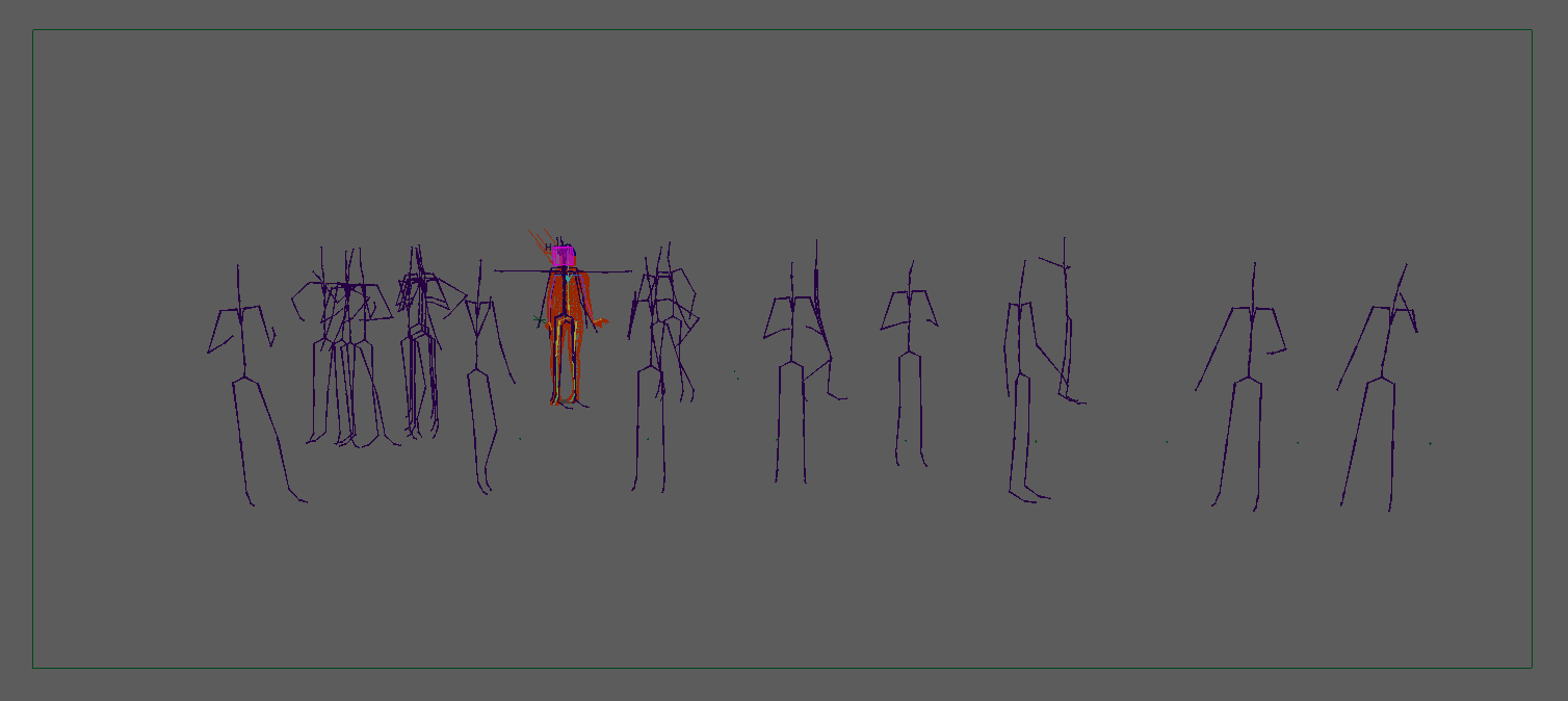 Example of the different mocap source skeletons. These were managed using Maya's 'Human IK' workflow.