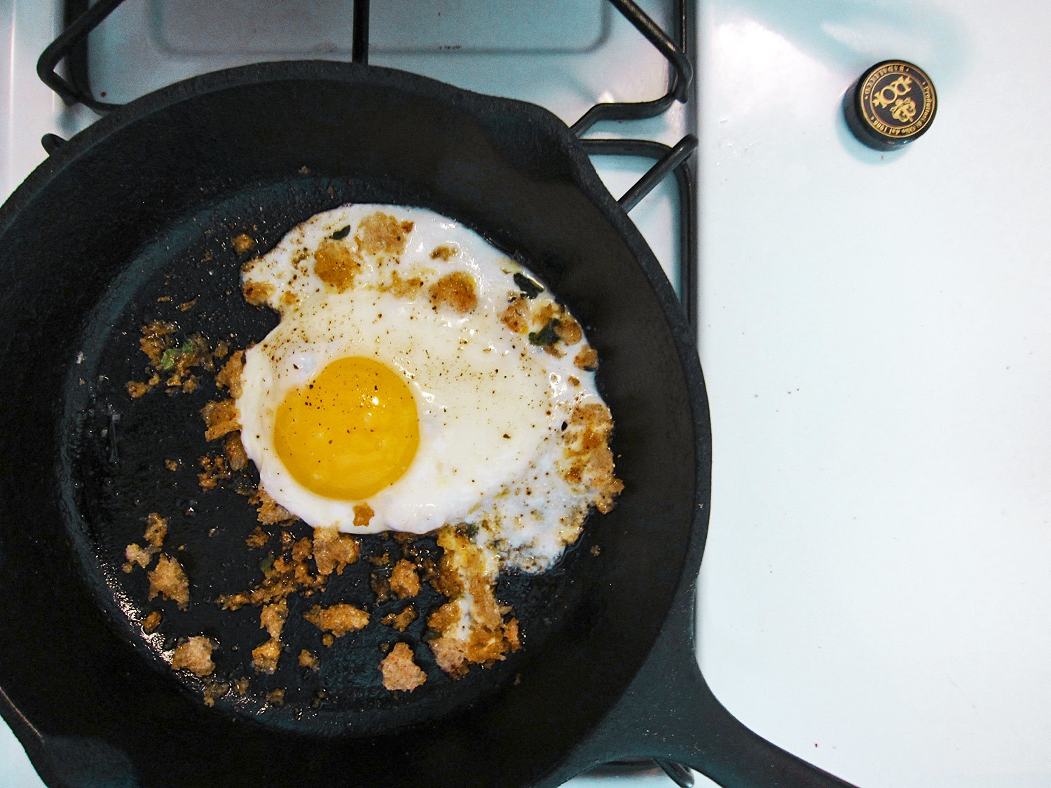 The Zuni fried egg with breadcrumbs, at its beginning