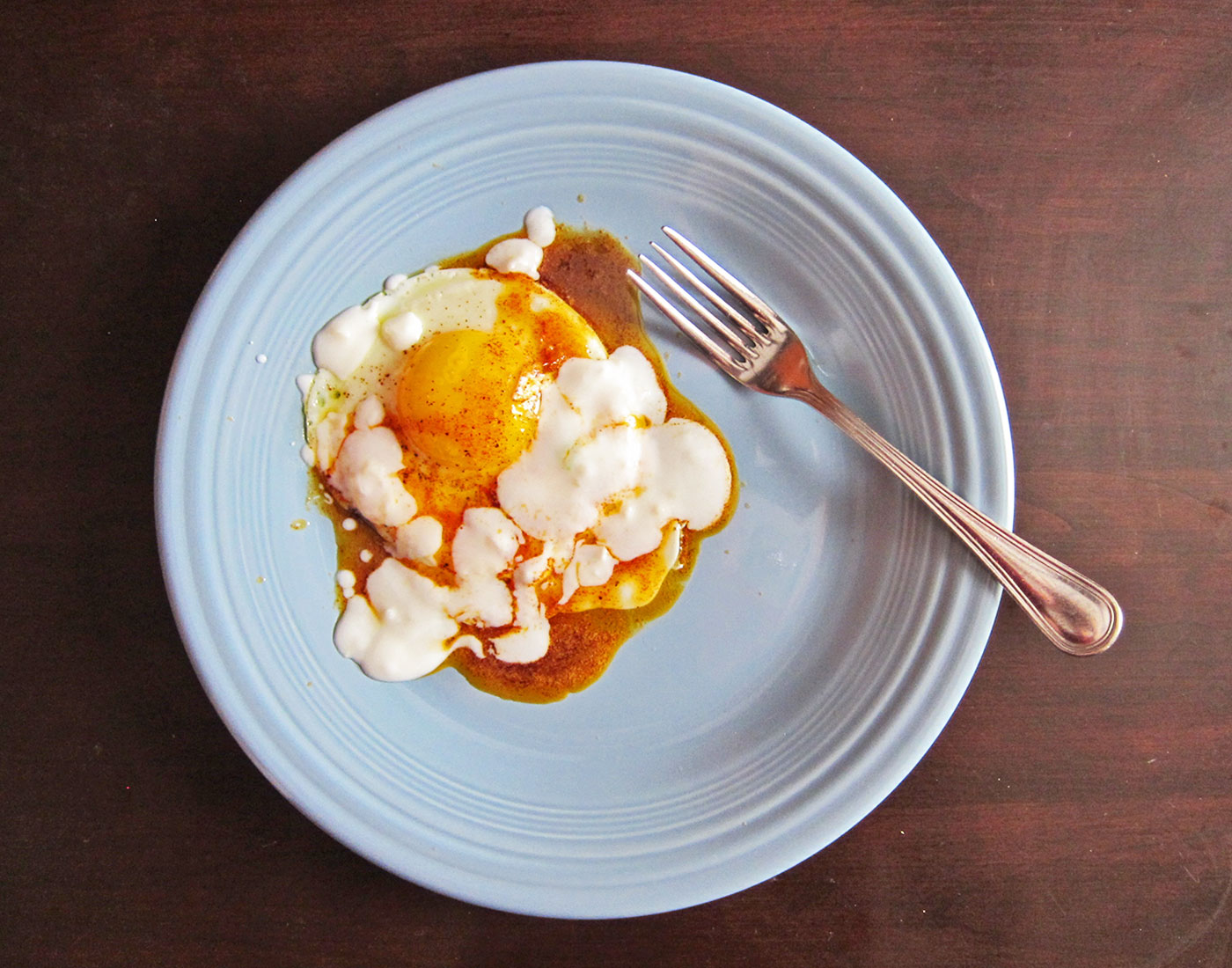 Turkish eggs with yogurt and paprika