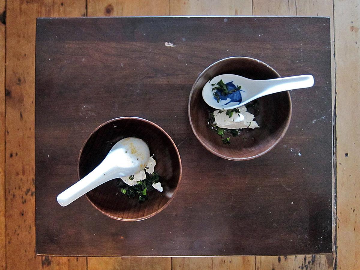 The garnishes; Greek feta and fresh mint