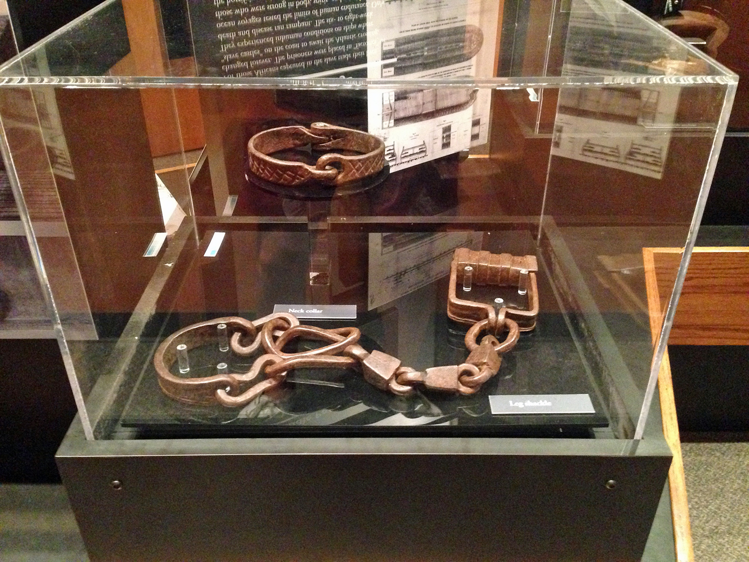 Collar and shackles at Fort Moultrie.