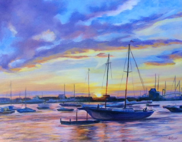 """New Port sun set in harbor"""