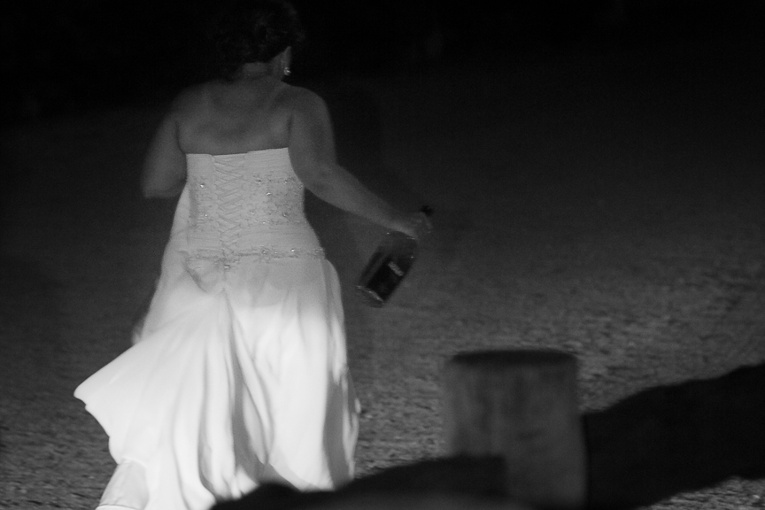 Will you stay till the end?  Often YES as I don't like to miss a thing. E.g. The above moment is the last one captured at a wedding as the bride headed off into the night with a bottle of Jim Beam.