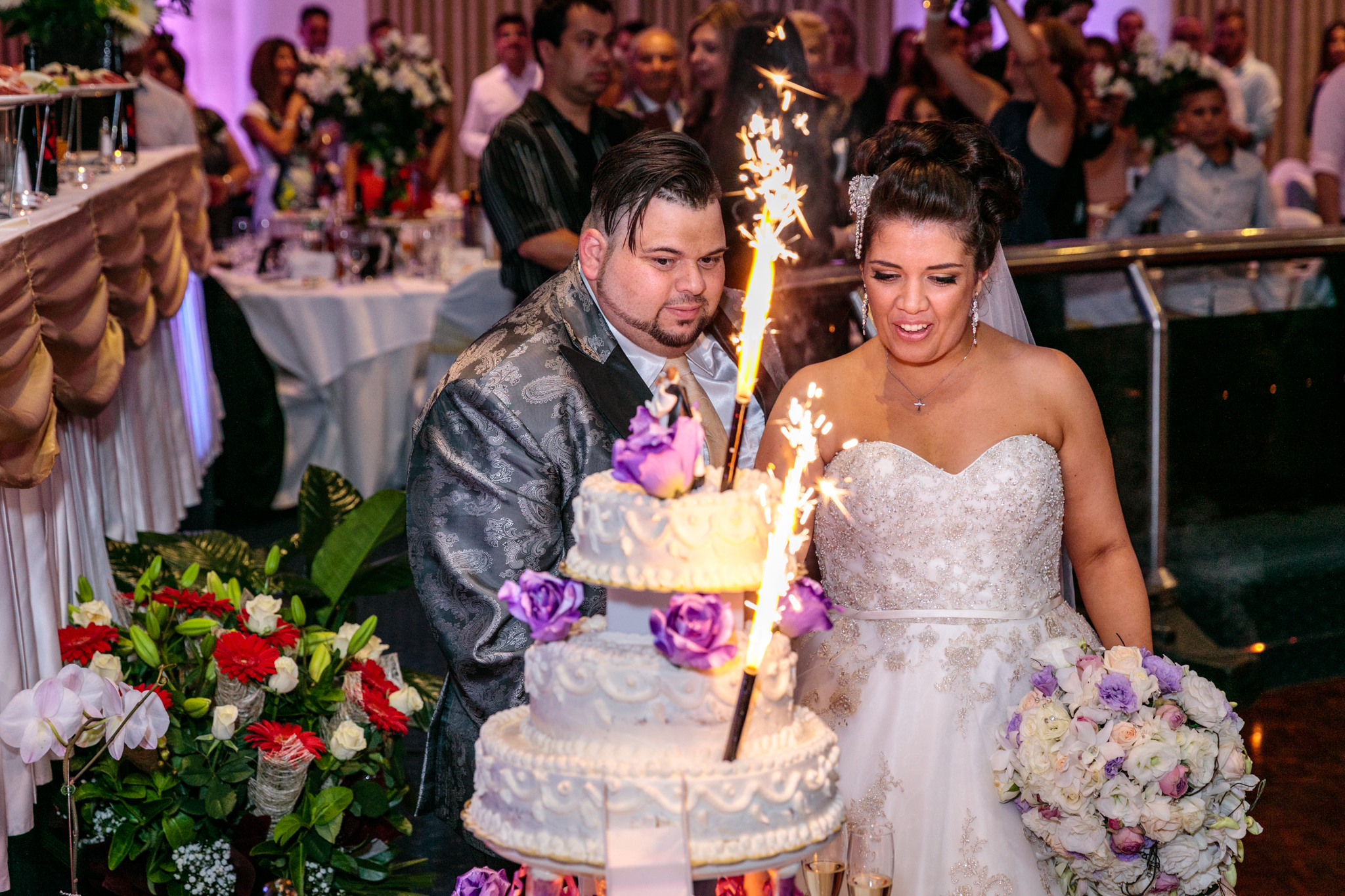 Cutting the Cake with Fireworks!