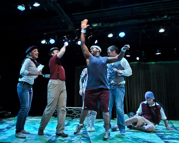 The Rude Mechanicals! As Snug in Michael Chings's Midsummer Night's Dream with Kate Paulsen, William Neely, Daud Alzayer, Ashi Day, and Andrew Santin. Photo by Cayuga Strategies, LLC.