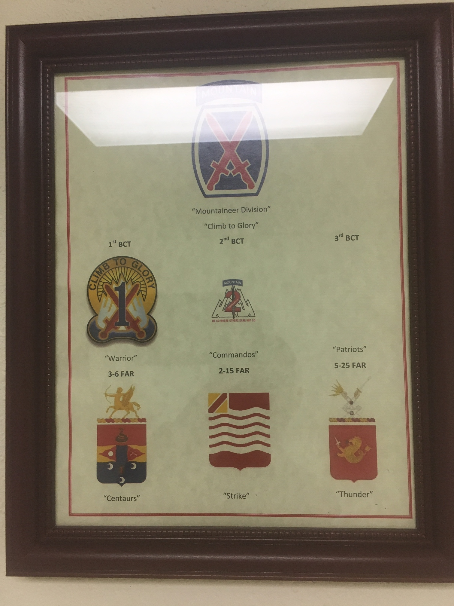 Picture in the hallways at FT Sill of 10th Mountain… my brigade Patriots logo is missing but at least we are the coolest looking artillery unit.