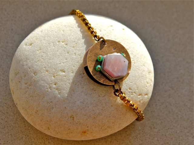 Hexed Again (pink sapphire, emerald, hand hammered brass, pewter): Cubic collection
