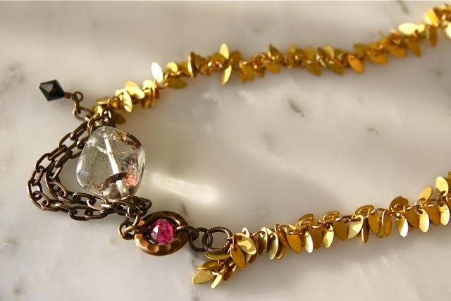 Ruby Ridge (phantom quartz, polki ruby, Swarovski crystal, brass, 22k gold plated sterling silver): Gemma collection