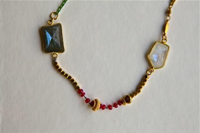 Blue Moon (labradorite, moonstone, ruby, brass, enamel, 22k gold plated sterling silver, silk): Jaipur collection