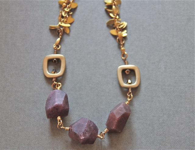 Sandia Sunset (pink sapphires, Swarovski crystal, brass, 22k gold plated sterling silver): Gemma collection