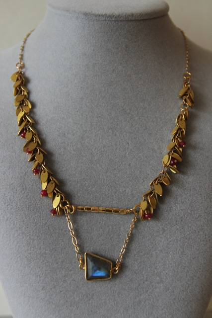 Dusk to Dawn (labradorite, ruby, 22k gold plated sterling silver, brass)