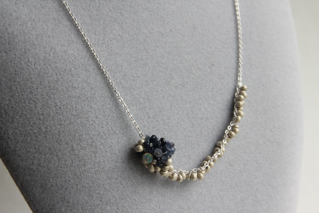 Silver Lining (sapphire, Ethiopian opal, silver plated Japanese seed beds, sterling silver)