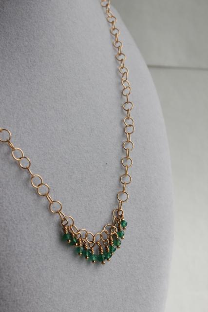 Trellis (garnet, green onyx, gold plated brass)