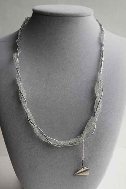 It's a Breeze (aquamarine, sterling silver, rhodium, silver thread