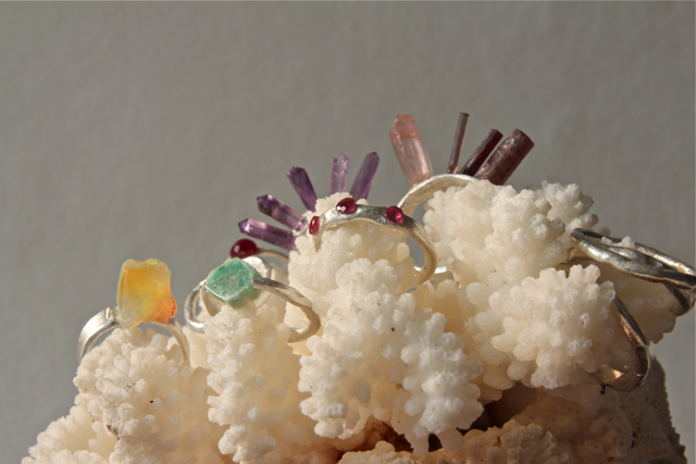 Spring 2014: Gemstone rings of textured fine silver (.999) -- Coming soon