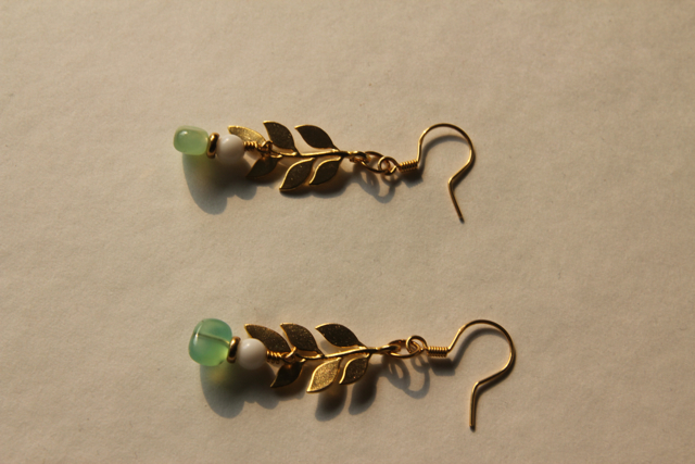 Trailing Vine (chrysophase, ceramic, gold plated brass, 22k gold plated sterling silver)