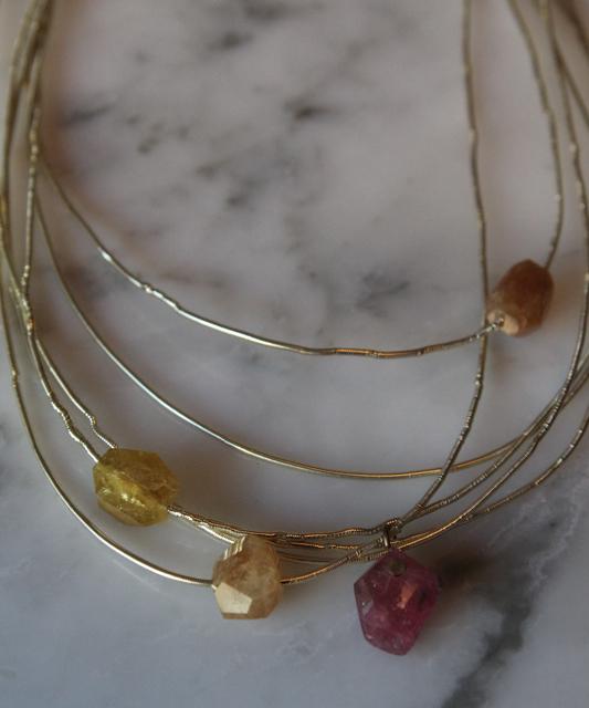 Etna's Fire (tourmaline, silver thread, brass): Gemma collection