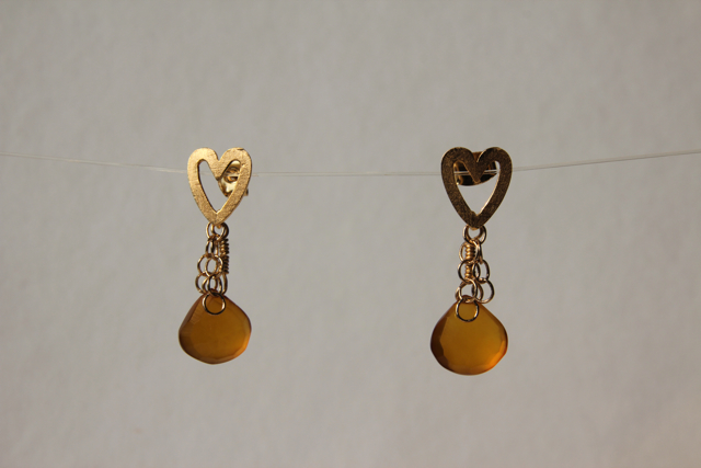 Heart of Gold (chalcedony, gold plated sterling silver, brass)