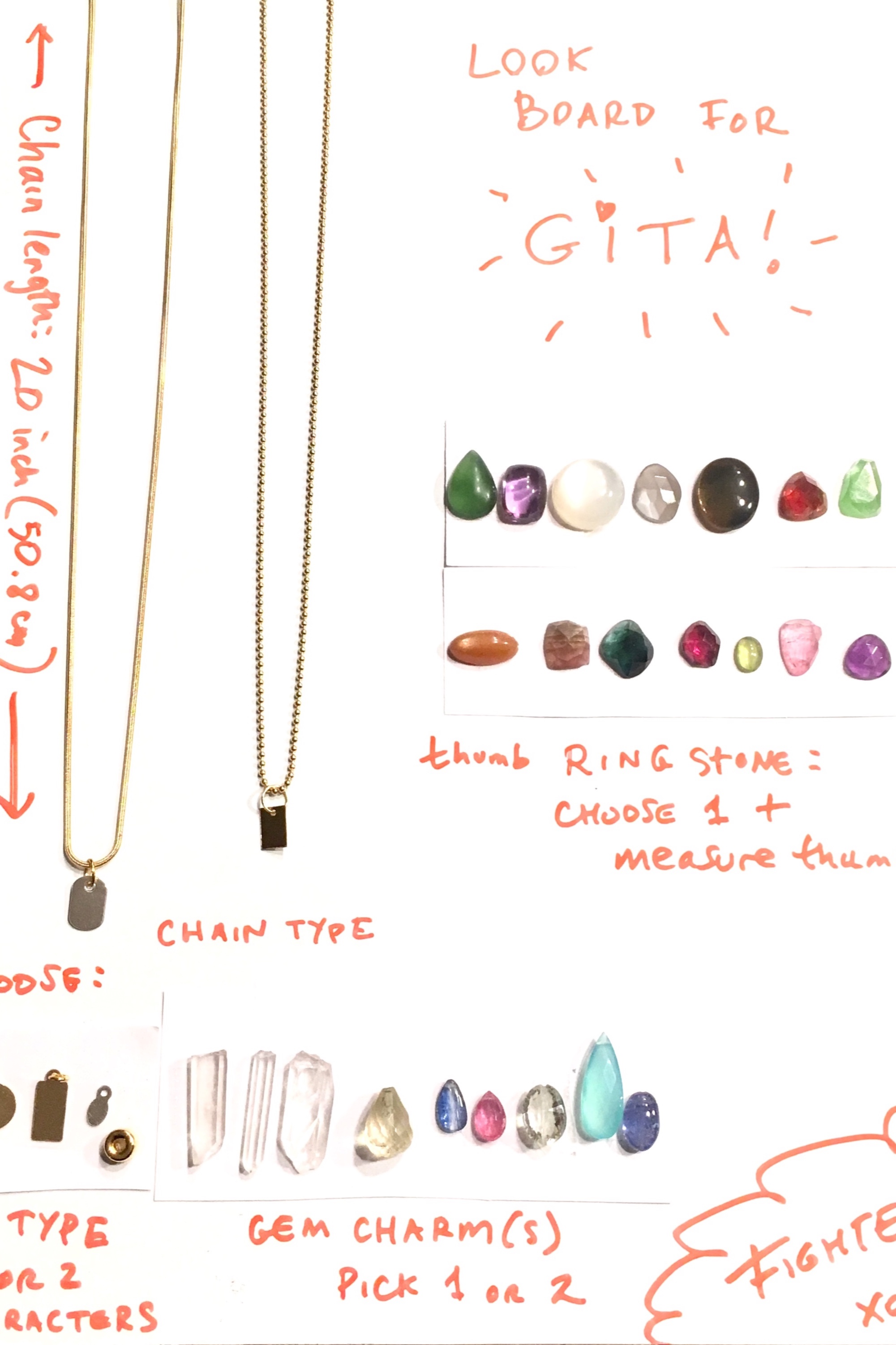 For her upcoming fight, Gita wanted a  ring  to wear to the press conference, and a  necklace  she could wear into the cage and take off easily.  I love collaborating with others,  and sent her a  look board  of stones/samples I thought would look great on her.