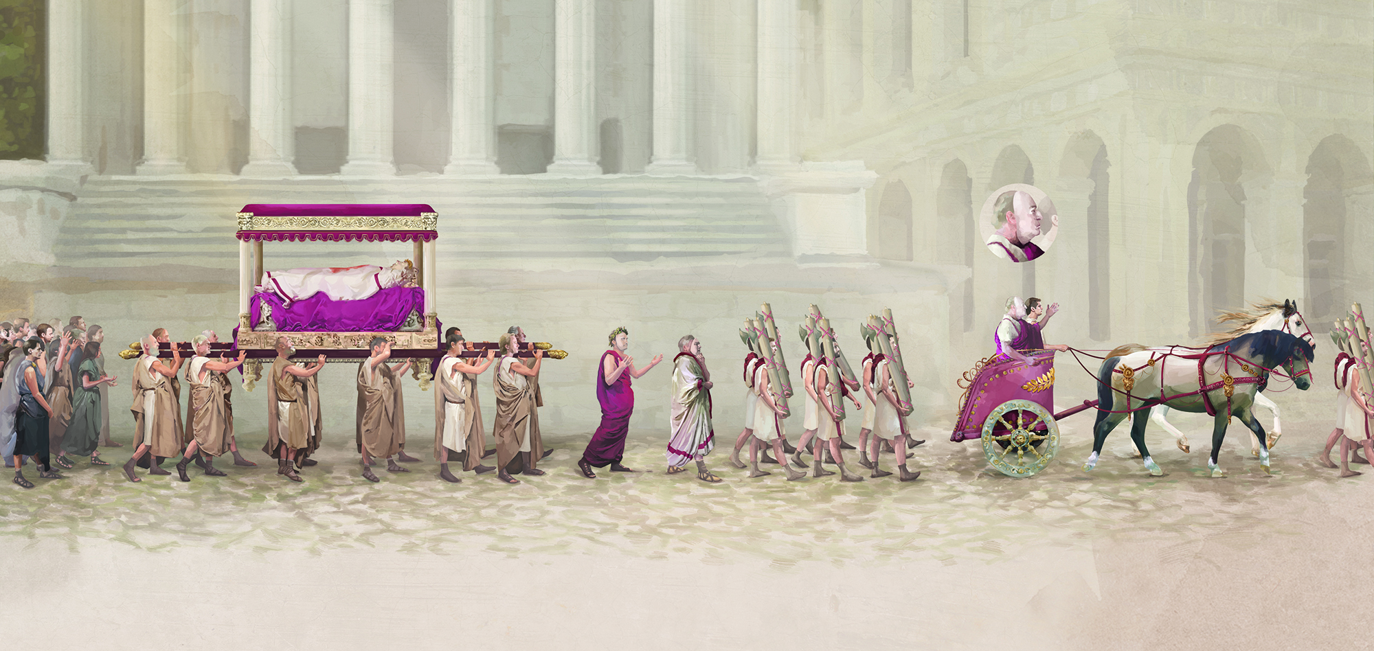 Illustrations of the Caesar's funeral procession.