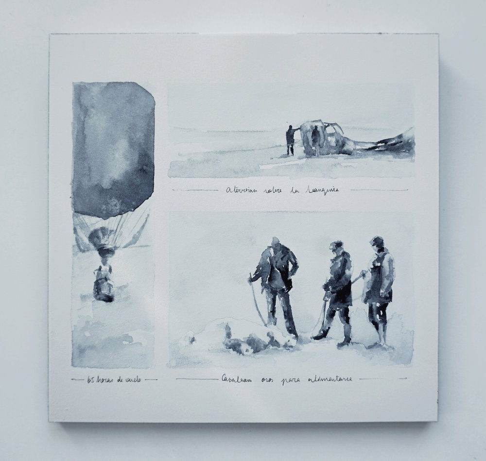 Part of the process of the arctic balloon expedition project, published in National Geographic magazine Spain, Dec 2015. I built the balloon using a variety of materials and created watercolor illustrations of some scenes of the expedition. Take a look   here   to see the entire process.