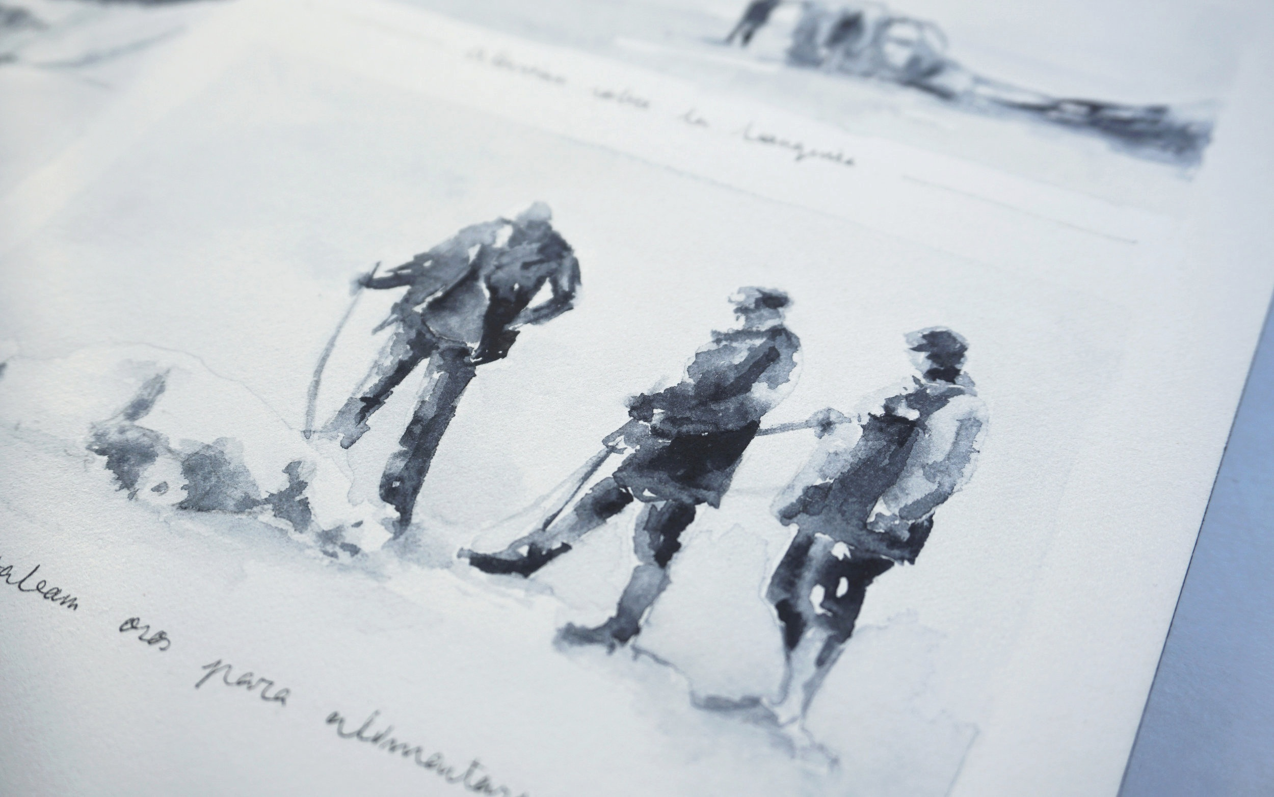 Watercolor illustrations of some scenes of the expedition.