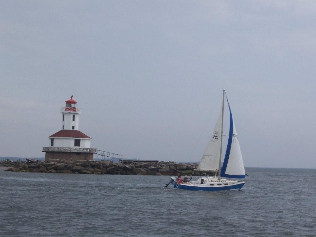 Sailing on Tara, summer in P.E.I. He didn't throw me out of this boat. Ever. (Phew)