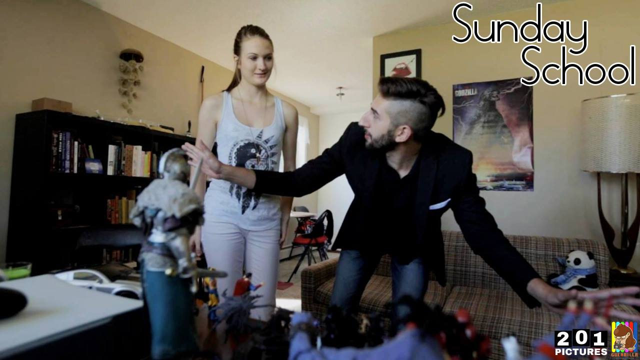 James shows Mandy his action figure collection. His crowning moment.