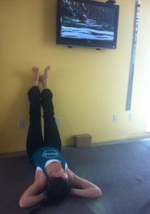 Just enjoying a little Life of Pi — oh ya, and legs up the wall!