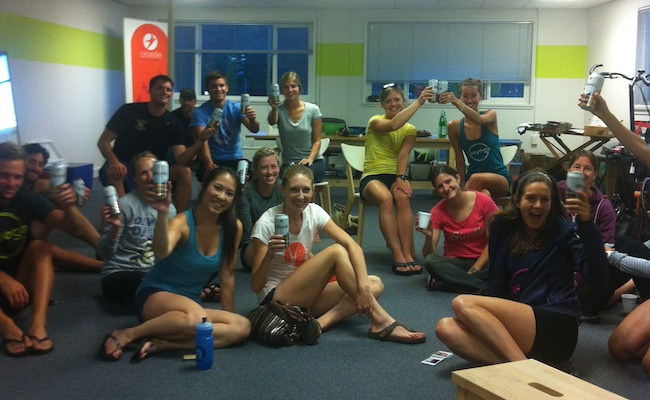 Post-class beers and track star Kate Grace highlight reel viewing party at Oiselle.