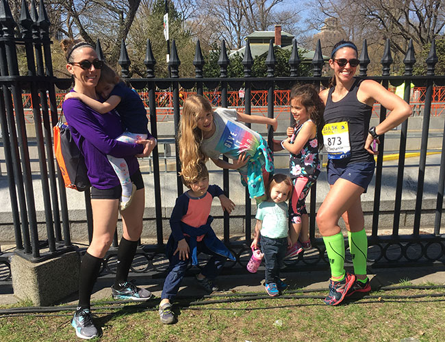 Mollie + her crew at Boston where she raced the BAA5k before cheering the marathon.