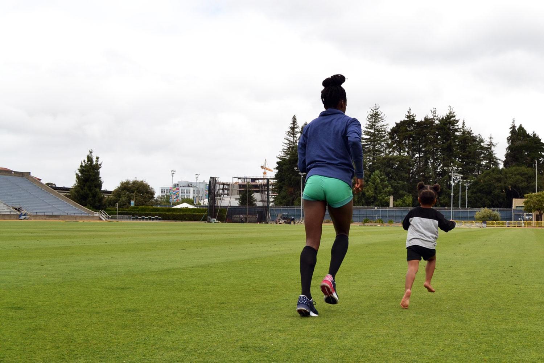 Post-workout toddler strides.