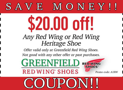 Coupons — Greenfield Red Wing Shoes