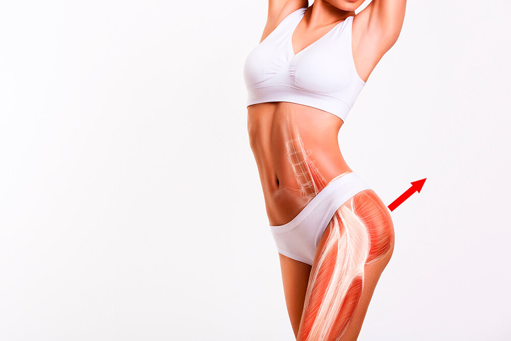More toned gluteus maximus lifts and tighter skin lift the butt upwards, naturally