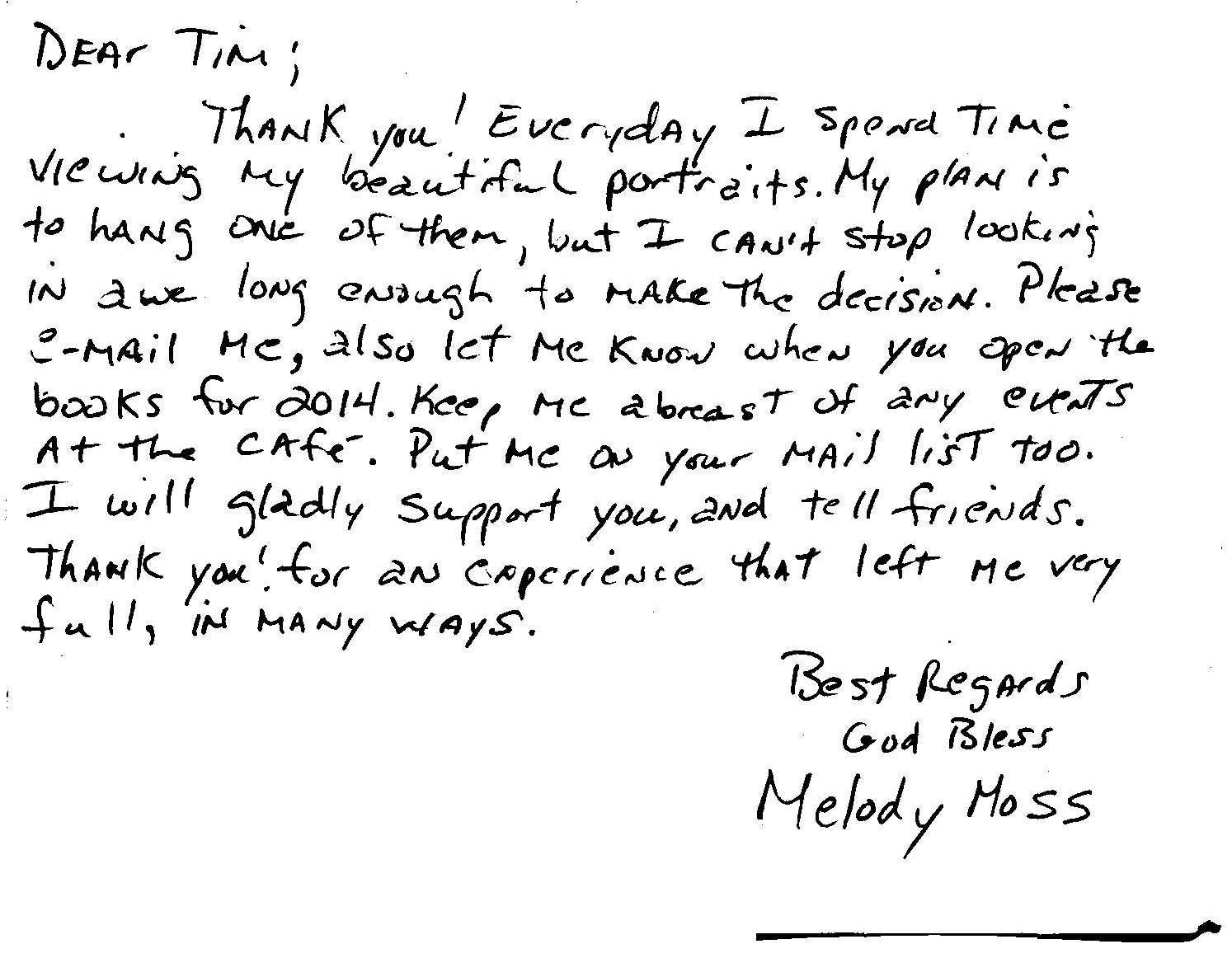 Melodie Moss's thank you note.