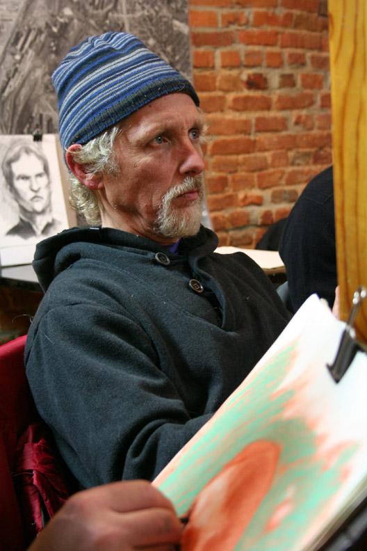 Larry Zuzik drawing Jim Raden 12-13-13