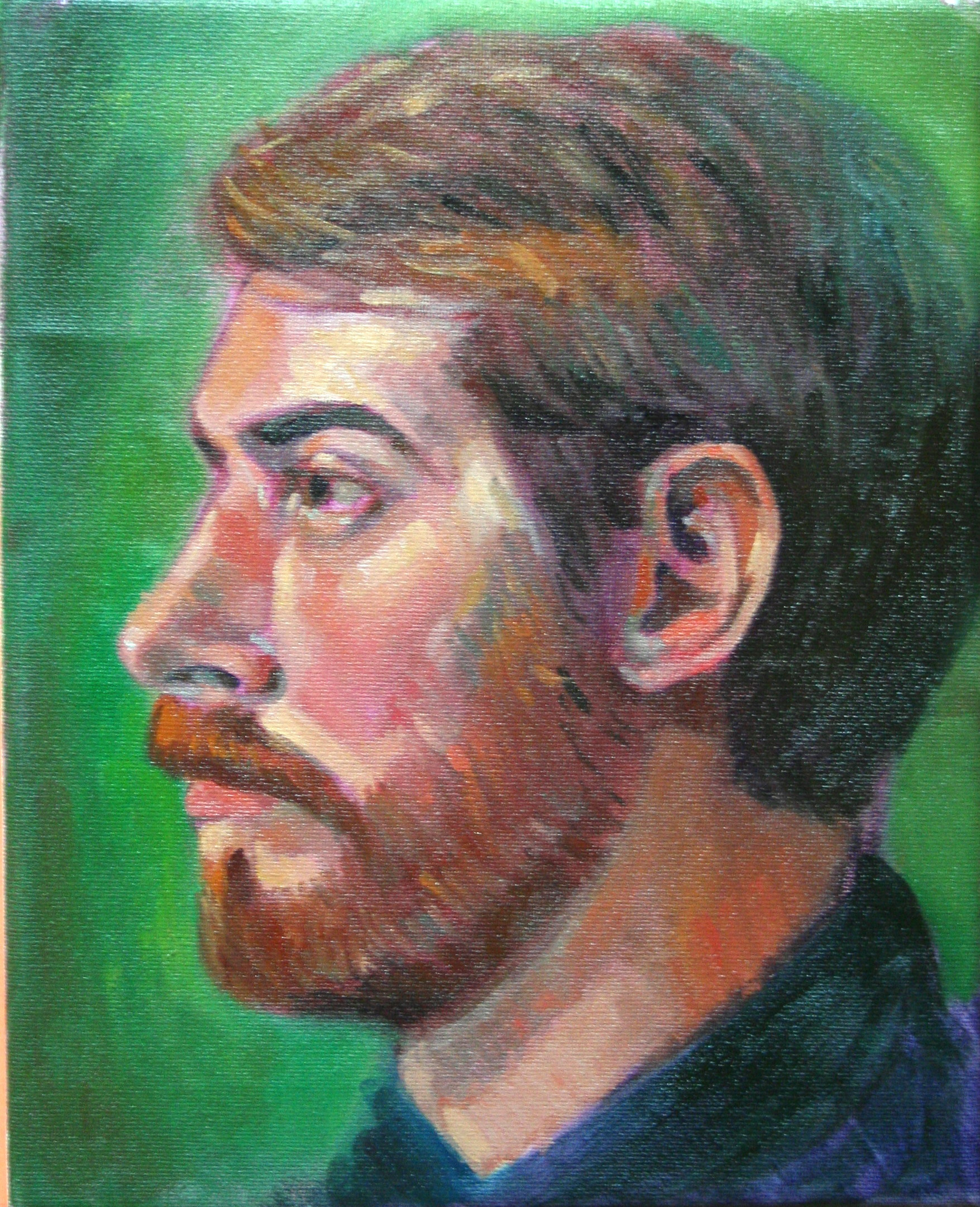 Olivia DeMilta (models sister) did this 3-hour oil painting.