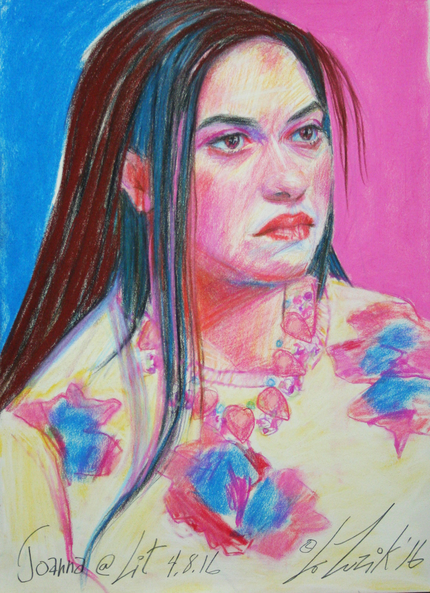 Larry Zuzik did this 3-hour pastel drawing .