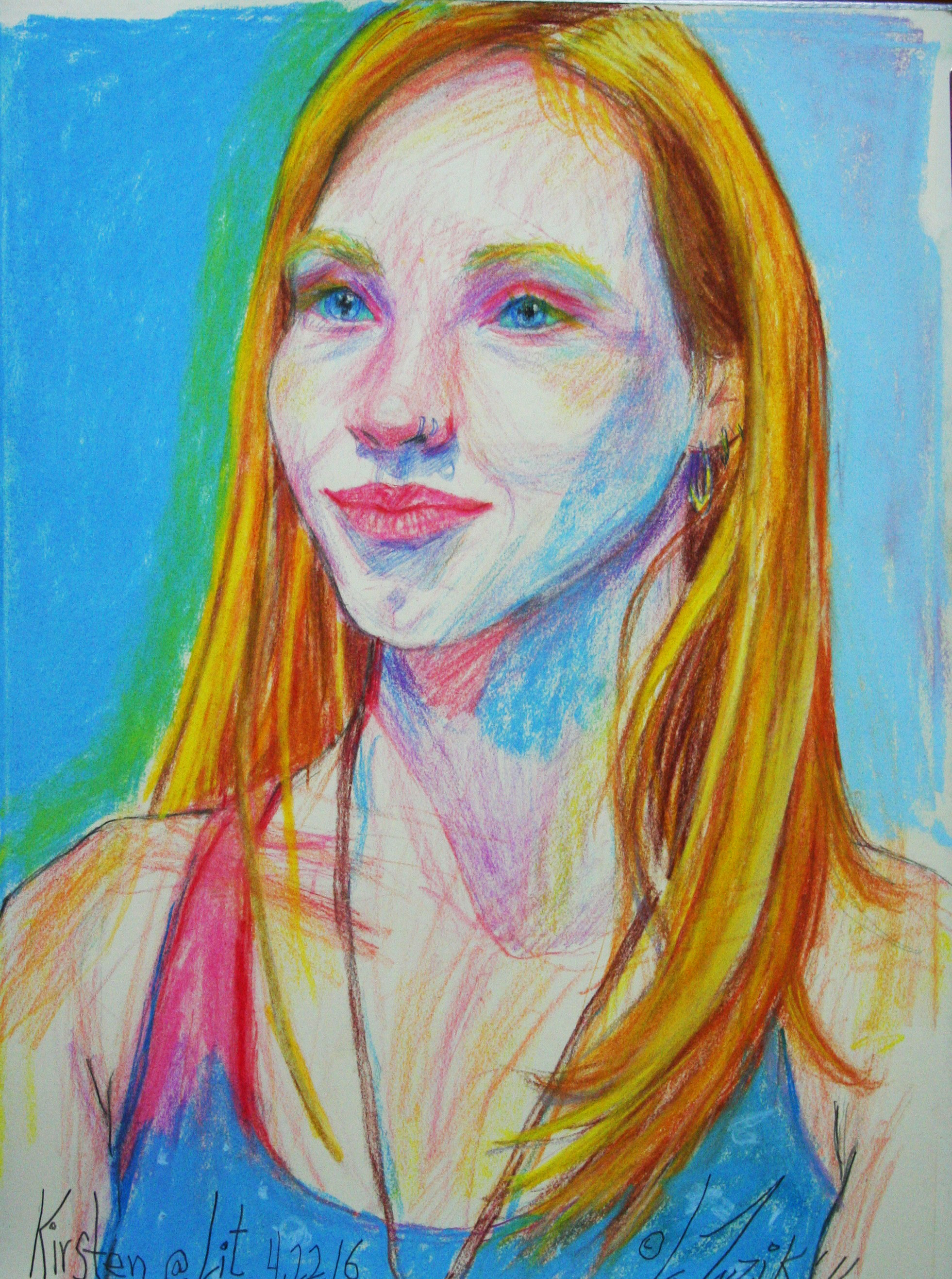 Larry Zuzik did this 3-hour pastel drawing.