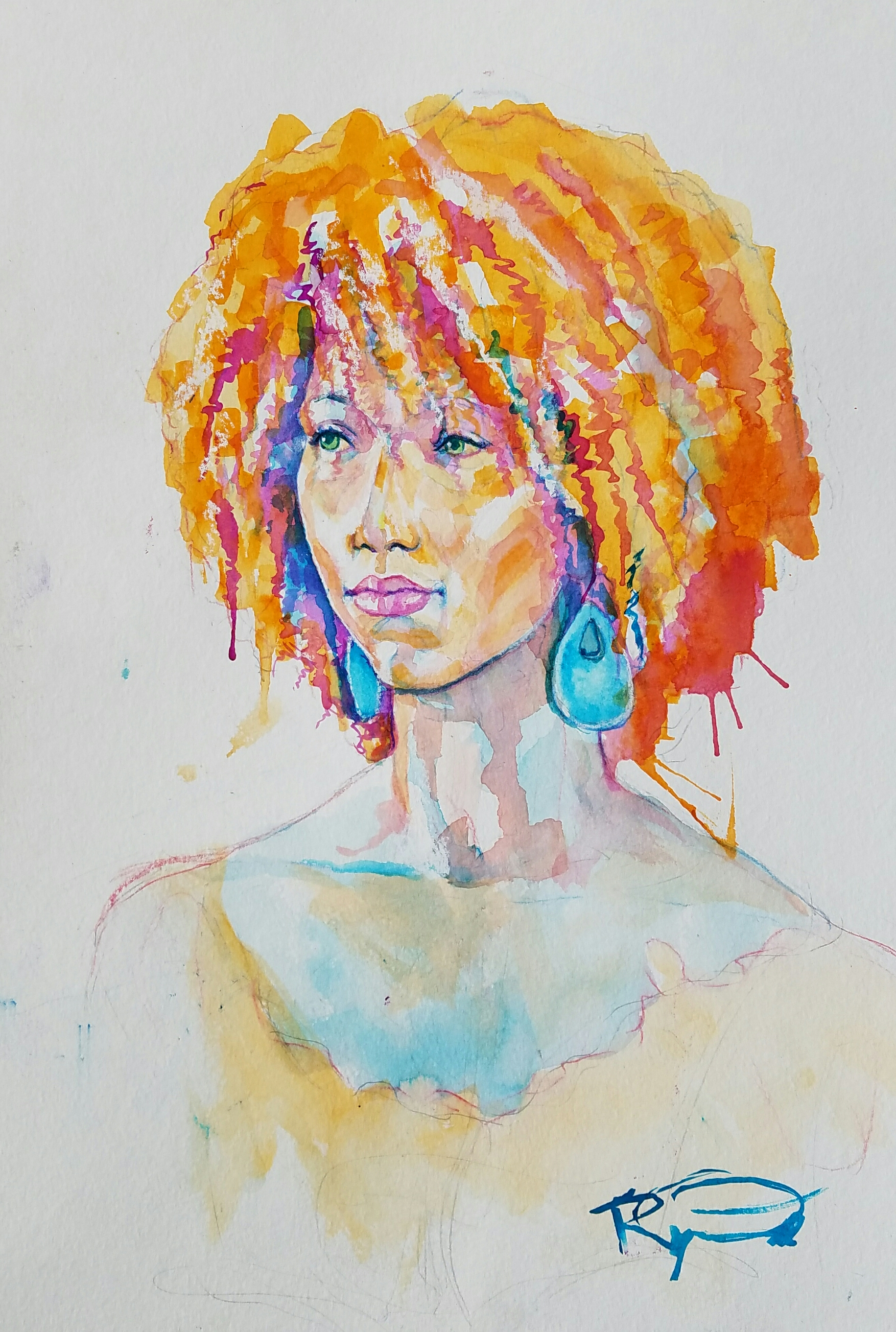 Ryan Oddo did this 3-hour watercolor and pastel drawing.