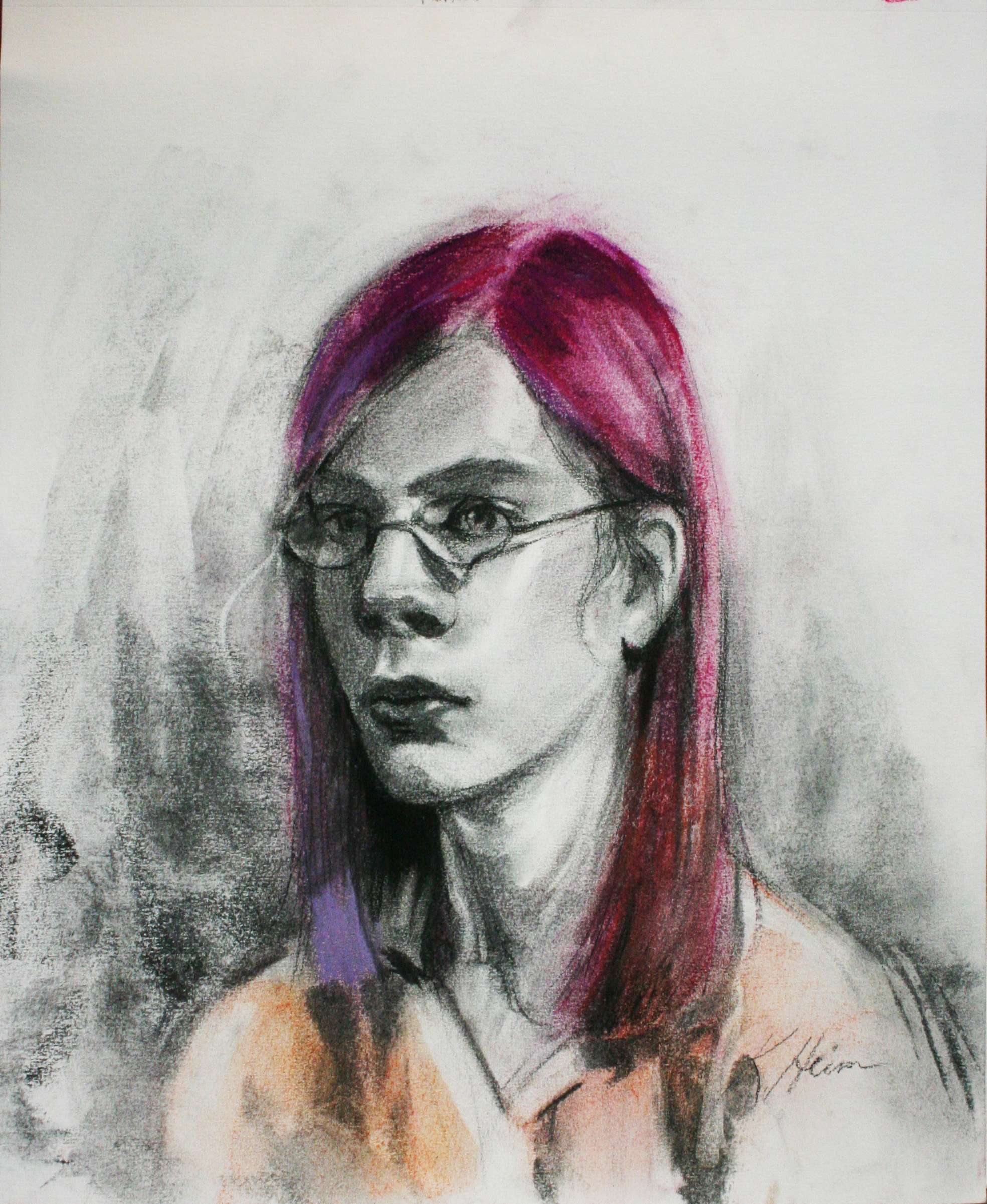 Kathryn Heim did this 3-hour charcoal and pastel drawing.