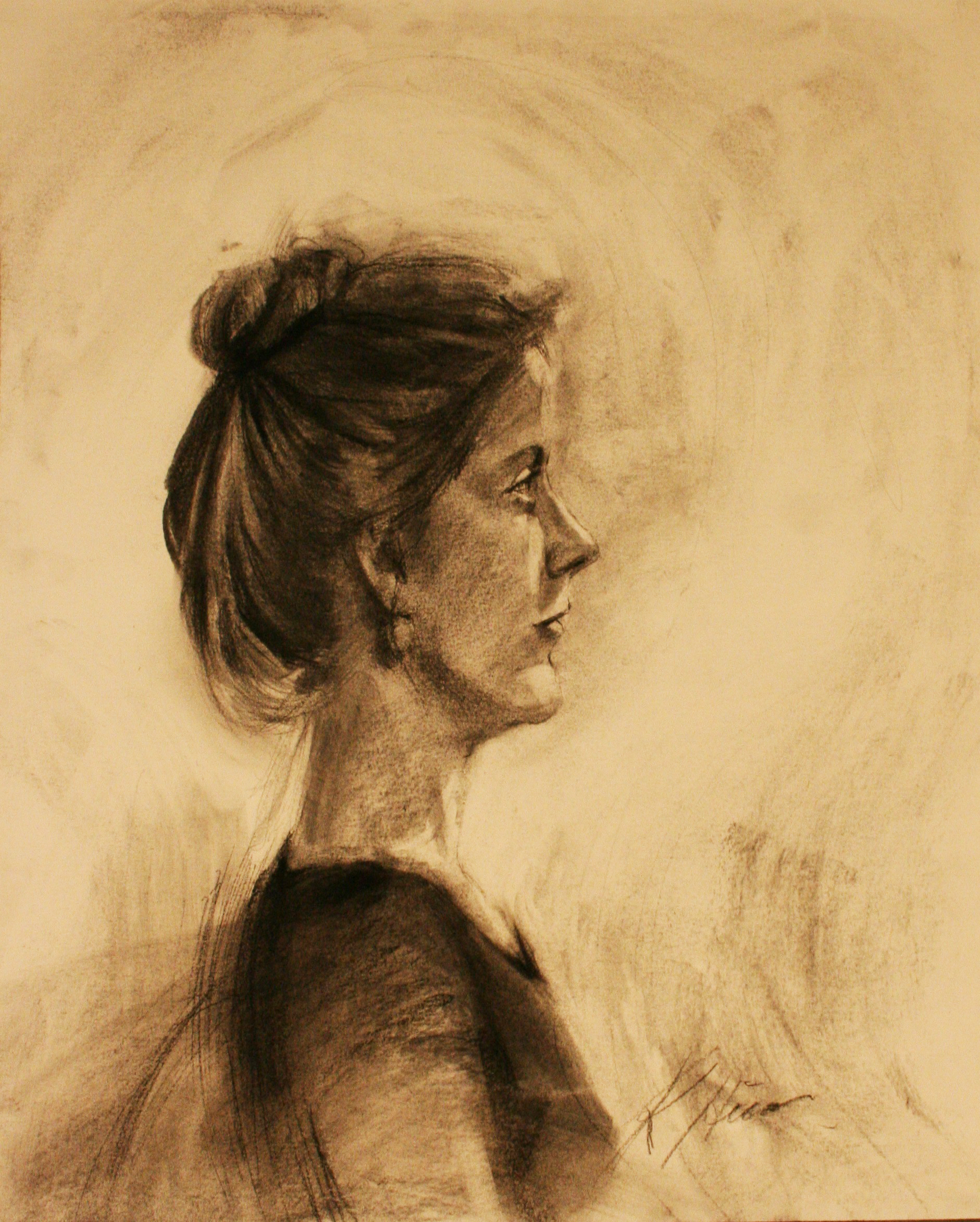 Kathryn Heim did this hour and a half charcoal drawing.