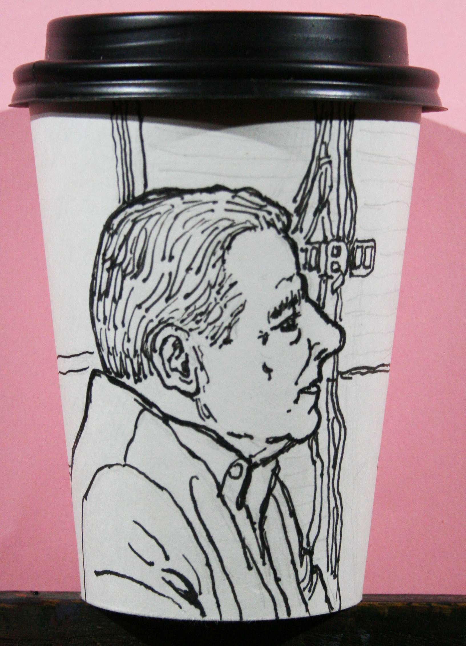 Jack Flotte did this hour and a half coffee cup portrait.