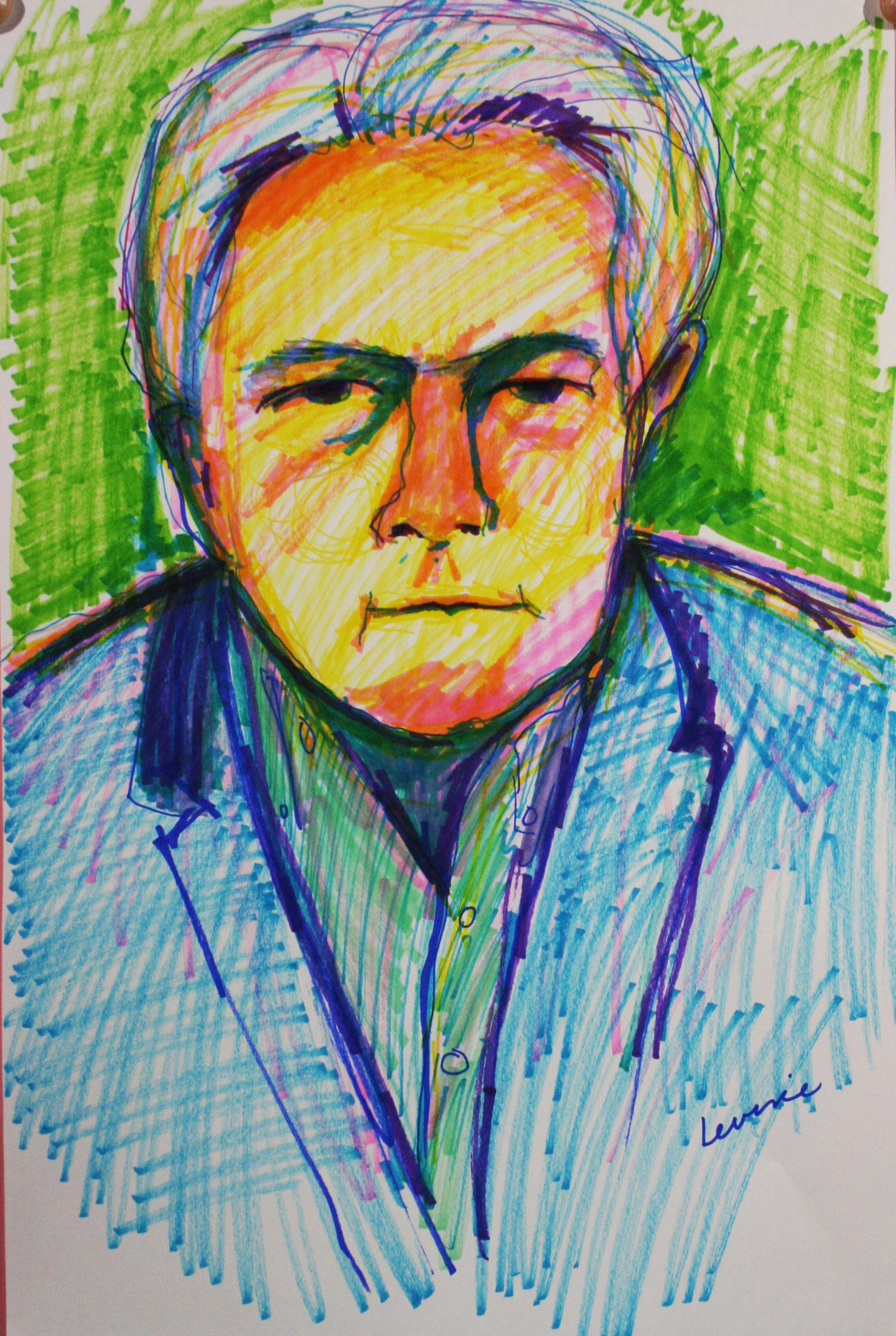 Phyllis Peterson Levine did this 2-hour marker drawing.