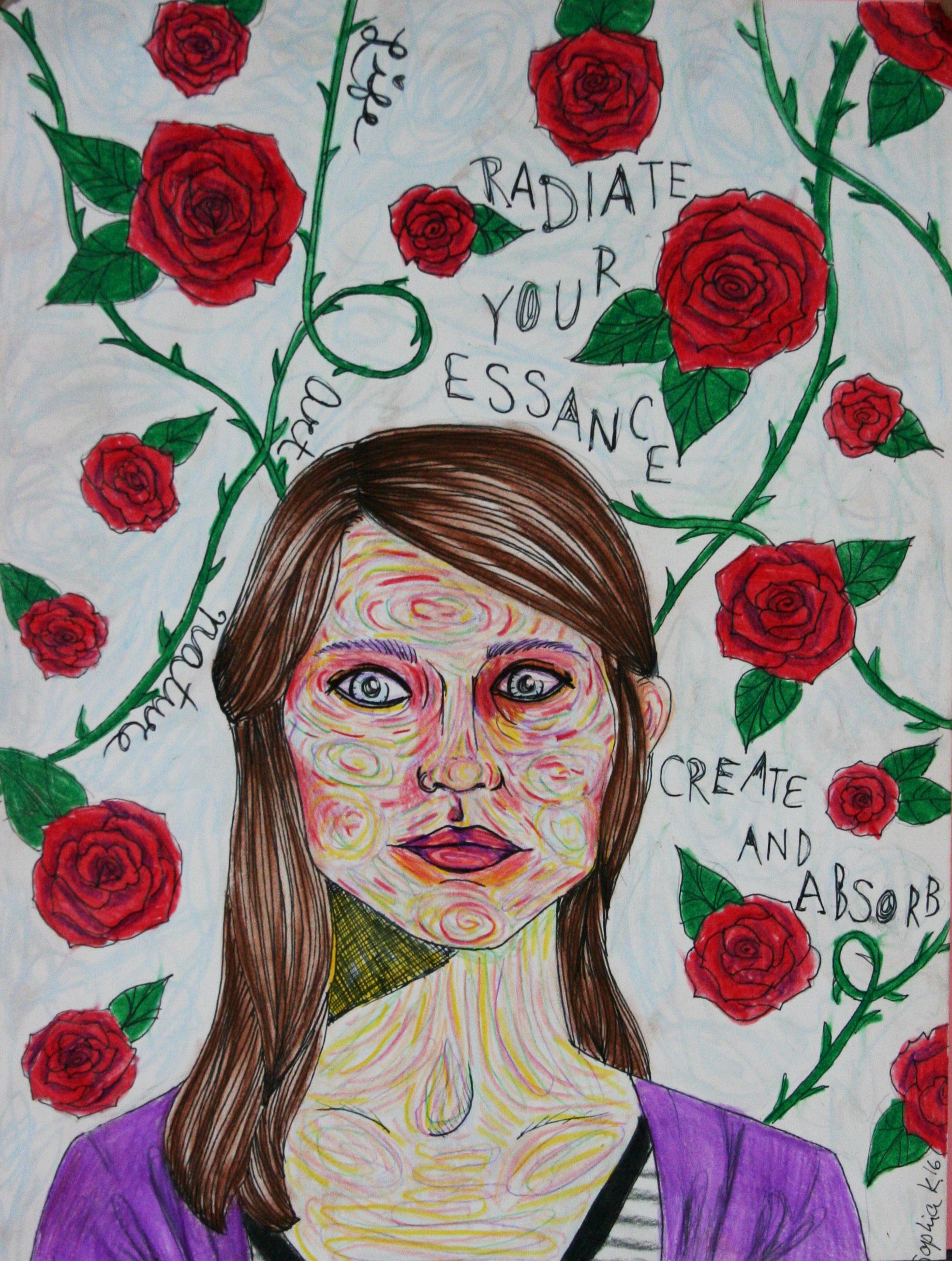 Sophia Kilgallon did this 3-hour mixed media drawing.