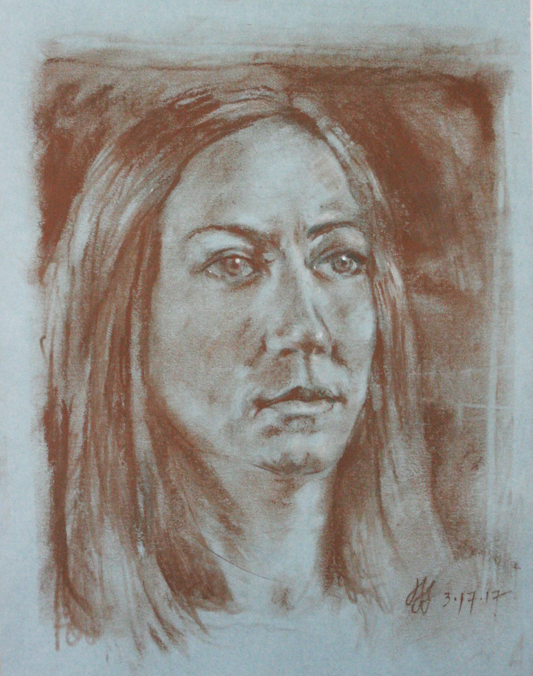 John Scavnicky did this 3-hour conte drawing of his niece.