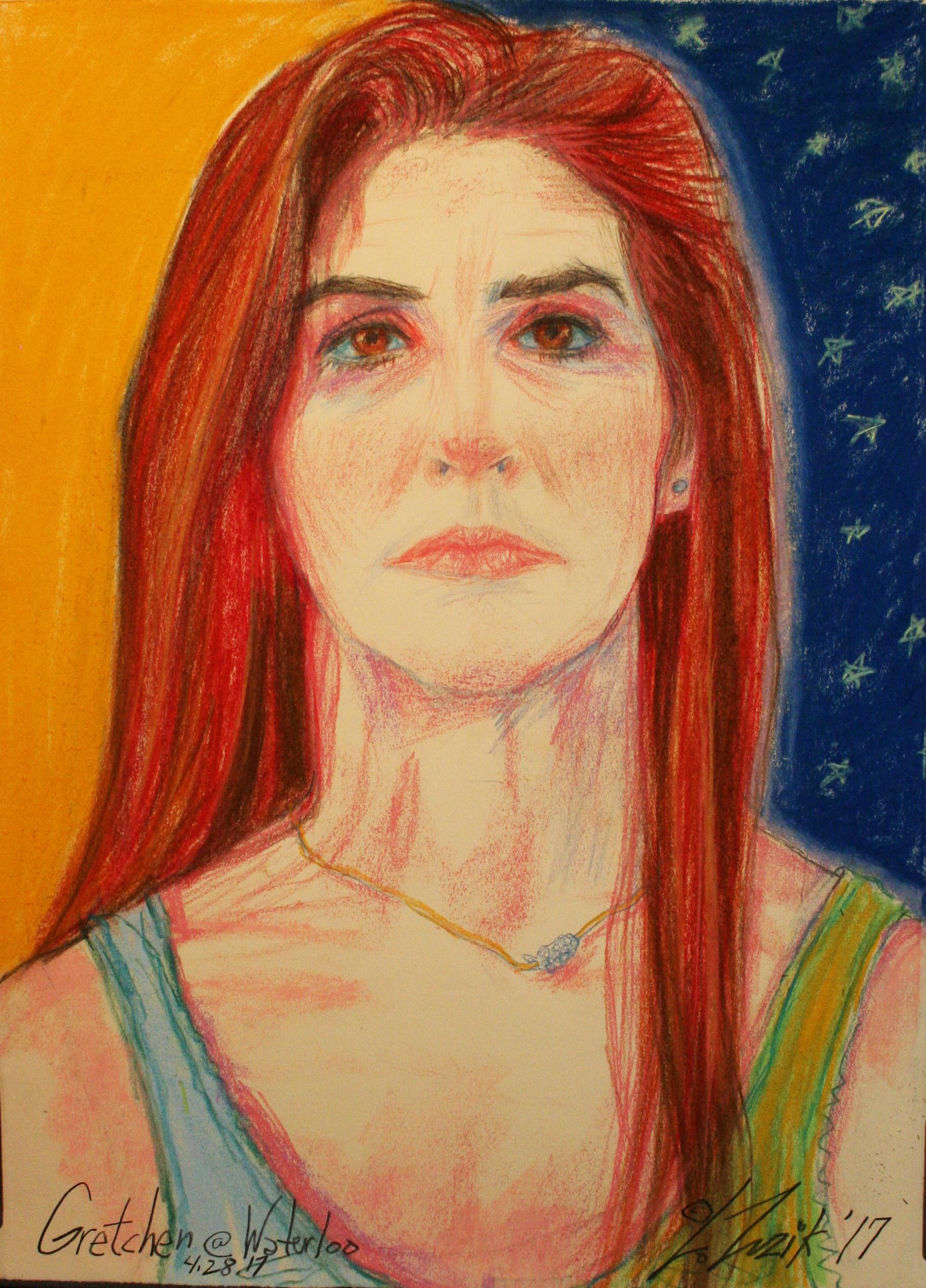 Larry Zuzik did this 3-hour pastel portrait.