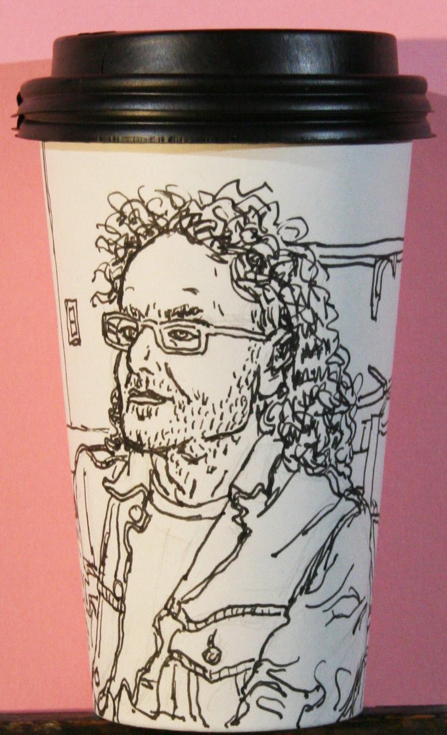 Jack Flotte's coffee cup portrait.