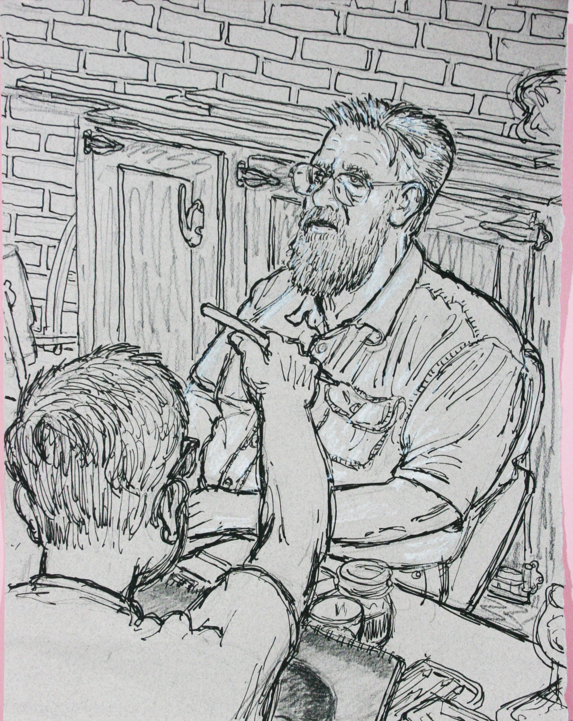 Jack Flotte did this 3-hour ink drawing (including Howard Collier).